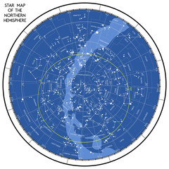 Star map of the northern hemisphere. The of the starry sky of the northern hemisphere. Vector is not traced, many layers.