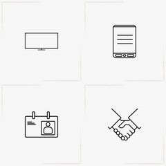Communications line icon set with smart phone, partnership  and badge
