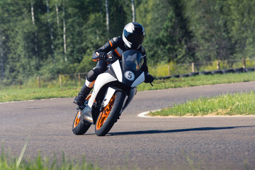 Motorcycle rider on the race track