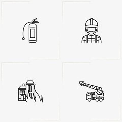 Firefighter line icon set with house on fire, firefighter and fire truck