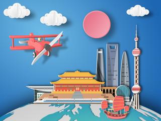 Paper art shanghai ,China infographic . Airplane flying to China .