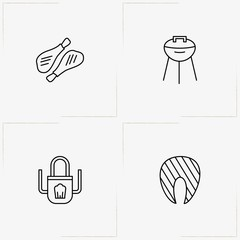 Barbecue line icon set with barbecue stand, apron and chicken legs