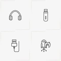 Computer line icon set with flash card , headphone and computer cord