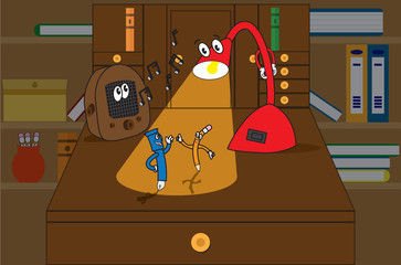 1930 style cartoon characters of a desk lamp, pen, pencil, radio dancing on a desk top with bookcase background.