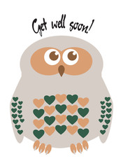 "Owl cute character with hearts for feathers greeting card with text  ""Get well soon!"". Editable labelled layers."