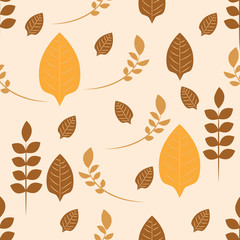 Autumnal repeat pattern of leaves and stems with range of browns and beiges. Ideal for soft fabrics.