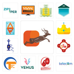 Set of antelope, telecom, 60th anniversary, venus, traders, fire station, shisha, royal, ap icons