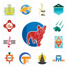Set of french bulldog, h house, wizard hat, traders, spare parts, ap, treble clef, meteorite, fire station icons