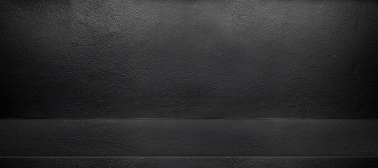 Black interior cement wall room background,mock up template for display of design,banner size for adding text for advertising