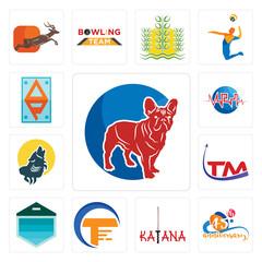 Set of french bulldog, 45th anniversary, katana, traders, garage door, trademark, howling wolf, med, ap icons
