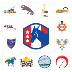 Set of democratic party, tachometer, offroad, bird nest, mustang mascot, badminton, viper, spare parts, rat icons