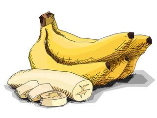 Vector illustration of drawing fruit bananas.