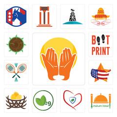 Set of prayer hands, indian food, insurance, veg, bird nest, us map, badminton, boot print, sawmill icons