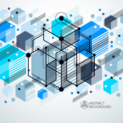 Abstract vector geometric isometric blue background. Mechanical scheme, vector engineering drawing with cube and geometric mechanism parts.