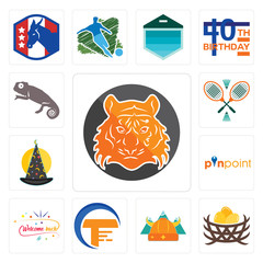 Set of bengal tiger, bird nest, norse, traders, welcome back, pinpoint, wizard hat, badminton, chameleon icons