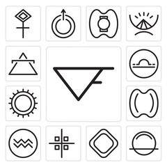 Set of Aqua, Earth, Soap, Vinegar, Aquarius, Hope, Sun, Libra, Air icons