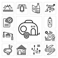 Set of Caravan, Swiss army knife, Map, Cabin, Snorkel, Travel, Cable car cabin, Oxygen tank, Passport icons