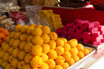 Traditional Hindu sweets. National cuisine, street food.