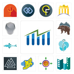 Set of free stock, construction, passion fruit, shoe with wings, valknut, neurosurgery, fishing team, bear, shield icons