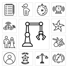 Set of industry 4.0, ringtone, benchmarking, you are welcome, profile pic, quarry, spouse, throwing star, autonomous vehicle icons