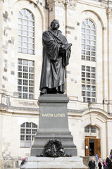 Martin Luther Denkmal auf dem Neumarkt, Dresden, Freistaat Sachsen, Deutschland, Europa