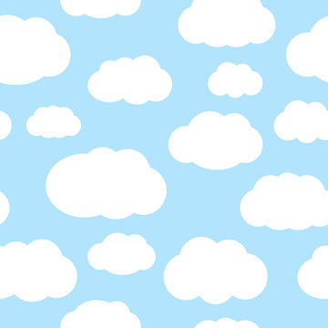 Clouds over the blue sky seamless vector pattern
