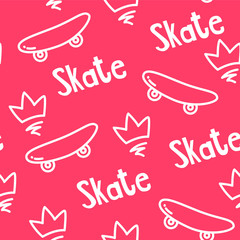 Old school pattern with skateboard, crown and text on red background. Ornament for textile and wrapping. Vector.