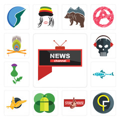 Set of all news channel, qf, steakhouse, mobile os a, gryphon, fishing team, thistle, skull with headphone, krishna icons