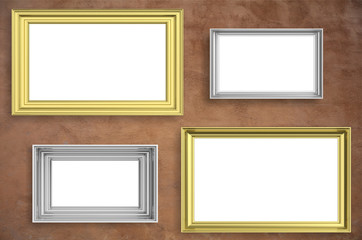Frames golden and silver isolated on brown wall background copy space, 3d illustration