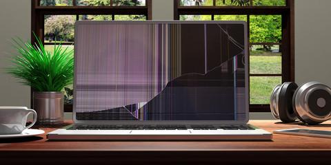 Laptop with broken screen on office desk. 3d illustration