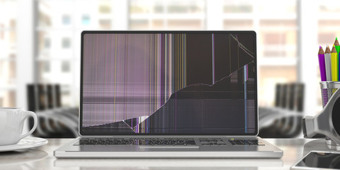 Laptop with broken screen on blur office background. 3d illustration