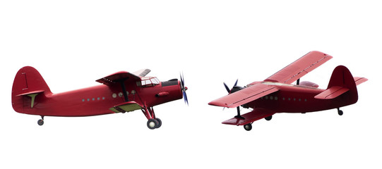 vintage red airplane set isolated