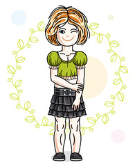Little red-haired cute girl standing on spring eco background with leaves. Illustration of vector attractive kid wearing casual clothes.