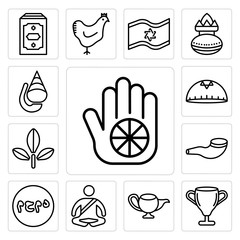 Set of Karma, Laver Washing, Genie Lamp, Meditation, Muhammad Word, Shofar, Bael tree, Kippah, Conch shell icons