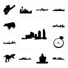 Set of long island, wisconsin, lord shiva outline images on white background, , kansas city skyline, t rex, pocket watch, nyc denver badger icons