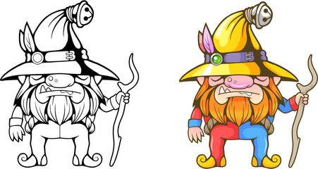cute cartoon little dwarf, funny coloring illustration