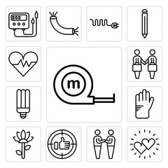 Set of Measuring tape, Hearts, Friendship, Positive, Garden, Glove, Light bulb, Deal, Heart icons