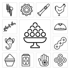 Set of Laddu, Flowers, Karma, Holy Quran, Kalasha, Challah, Ganesha, Kippah, Olive Branch icons