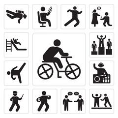 Set of Cyclist, Police Arrest, Businessmen talking, Thief, Running cop, DJ Mixing Music, Karate High Kick, Podium, Slide icons