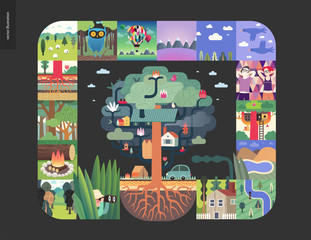 Simple things - forest set on a black background - flat cartoon vector illustration of hunter, field, trees, firewood, forest, roots, sheep, owl, air balloons, mountains, birds, house - composition
