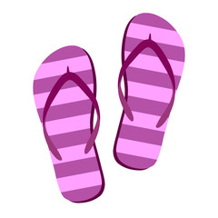 Flip flops isolate on a white background. Slippers icon. Colored flip flops pink, purple striped on white background. Vector illustration AI10.