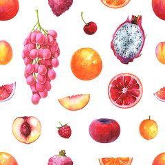 Hand painted seamless exotic fruits pattern. Watercolor grapes, cherry, apricot, orange, raspberry, nectarine, lychee, pitaya, velvet apple, fig, isolated on white background
