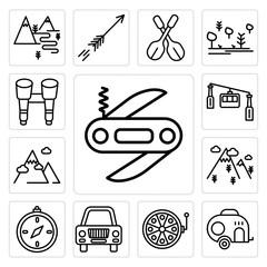 Set of Swiss army knife, Caravan, Fishing reel, Car, Compass, Mountain, Cable car cabin, Binoculars icons