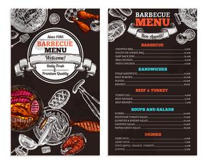 Bbq Restaurant Food Menu Design. Barbecue Café Brochure