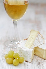 Cheese, grape and white wine