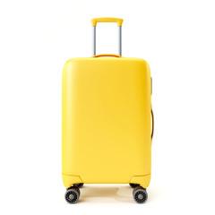 Yellow suitcase isolated on white background.