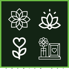 Set of 4 flower outline icons