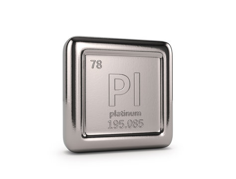 Platinum on a white background. 3D illustration