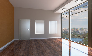 Blank paintings.  Mockup. Conference room with wooden table. 3D rendering.