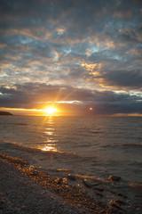 sunset over the evening ocean